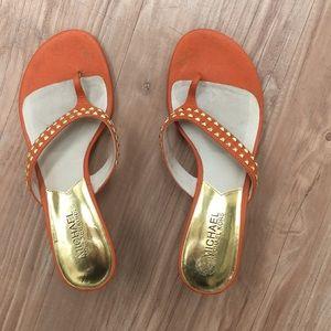 Michael Kors orange studded sandal heel